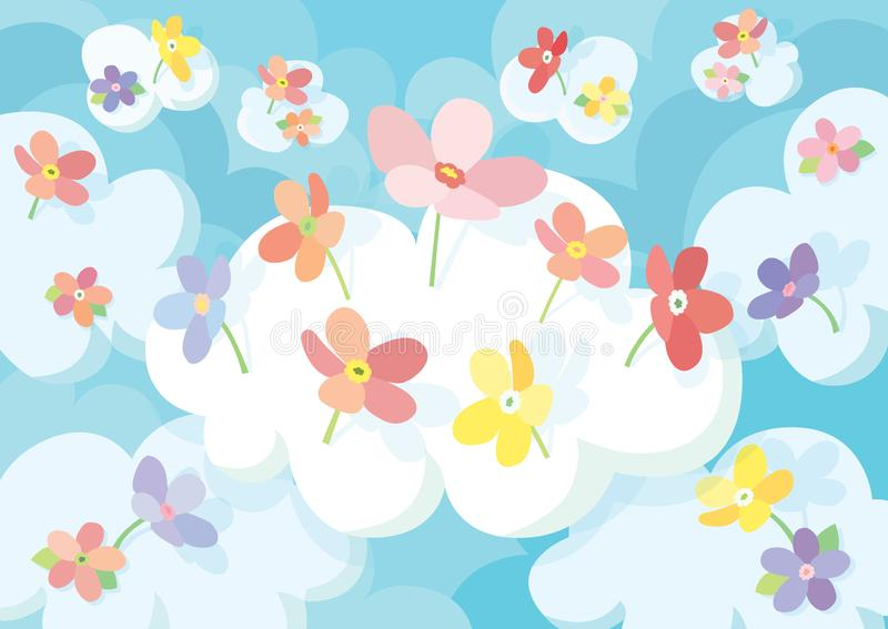 Frower in the cloud sky background and colorful flowers stock illustration