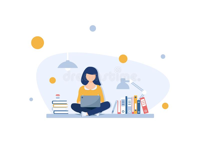 Freelance concept, Girl freelancer on outdoor working with laptop with wireless connection vector illustration