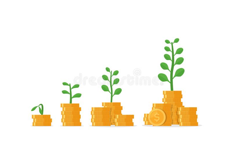 Tree growing on coins stack with Mutual fund, Income increase stock illustration