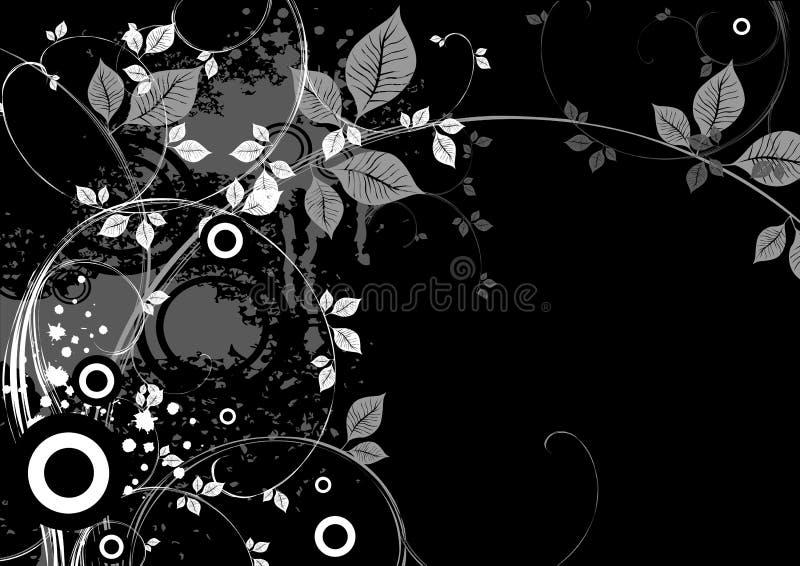 X-3 floral negro stock de ilustración