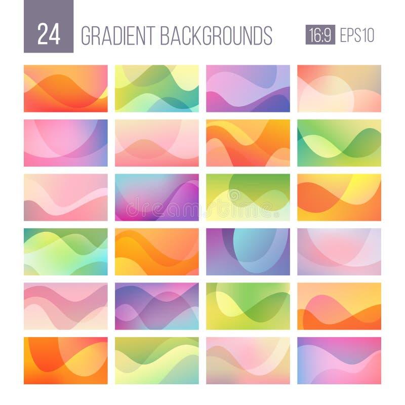 24 x abstrakta tła gradientowej paczki ilustracja wektor