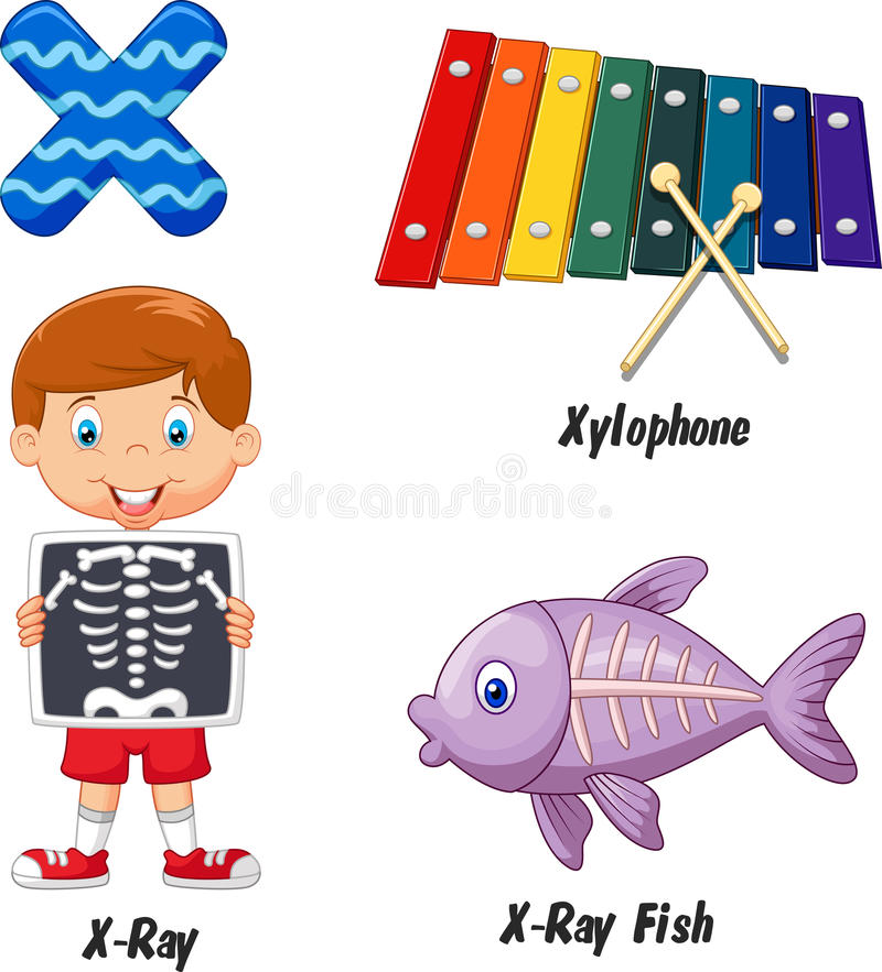 X alphabet cartoon royalty free illustration