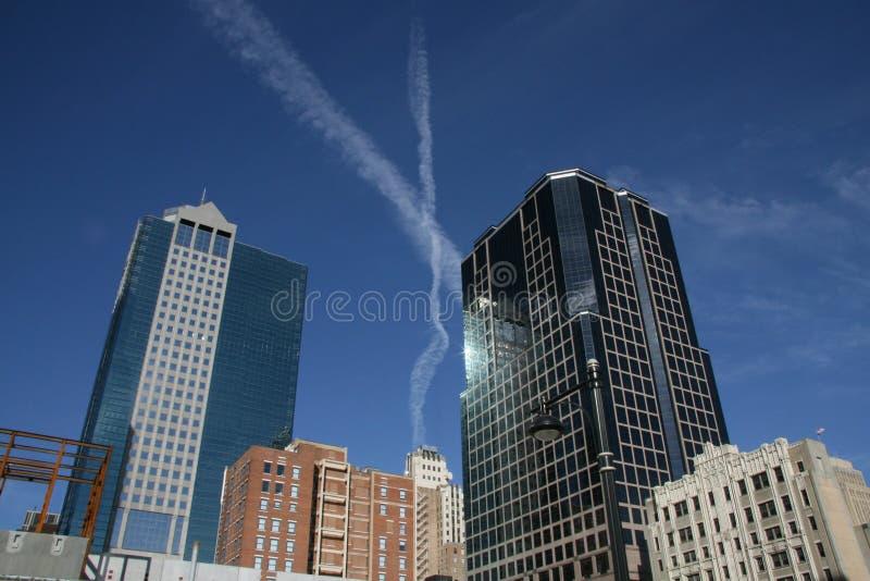 X au-dessus de Kansas City images stock