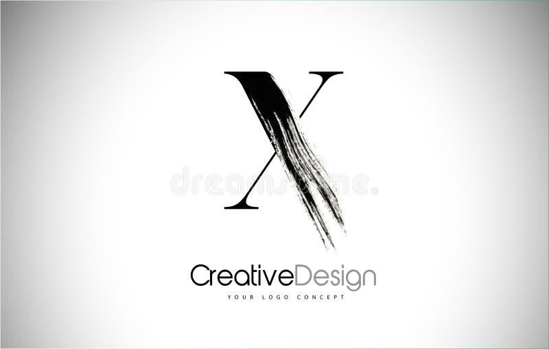 X Bürsten-Anschlag-Buchstabe Logo Design Schwarze Farbe Logo Leters ...