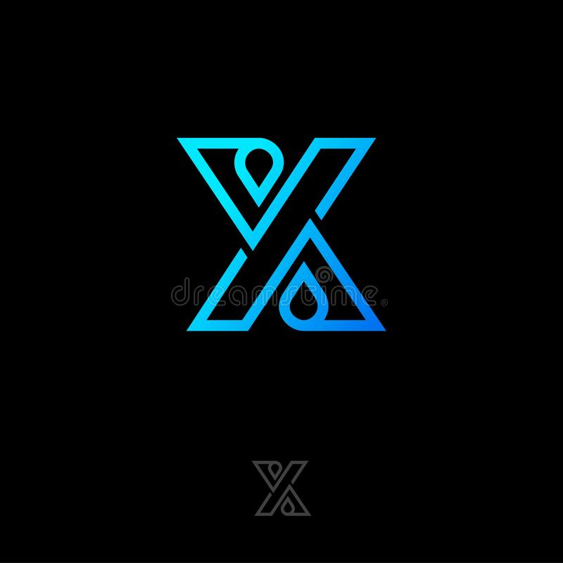 X bokstavslogo X-bokstavsmonogrammet består av linjer, och droppar, korsade beståndsdelar vektor illustrationer