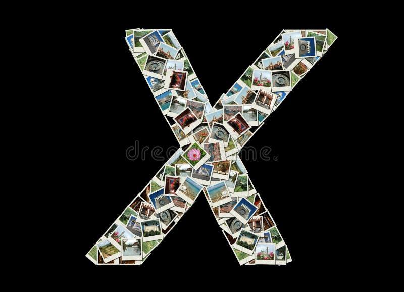 X brief - collage van reisfoto's stock afbeeldingen