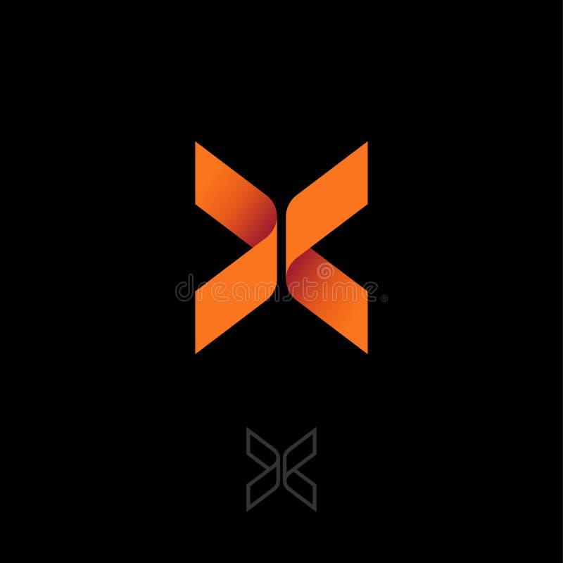X brief zoals vlinder Origamiembleem X origamiembleem, zoals oranje lint royalty-vrije illustratie