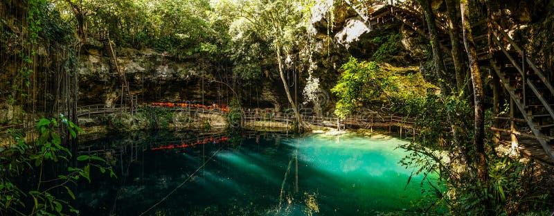 X ` canche cenote in Yucatan, Mexico stock foto's