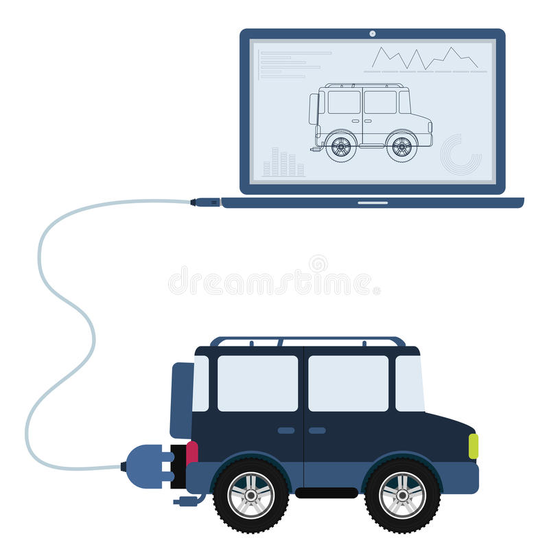4x4 car automation using laptop. 4x4 car connected to a laptop through a usb cable. Outline of the car and graphs being shown on the computer monitor. Flat stock illustration