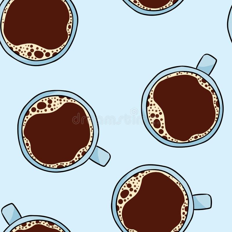 X?cara de caf? Teste padrão sem emenda tirado mão dos desenhos animados bonitos Telha do fundo da textura ilustração royalty free