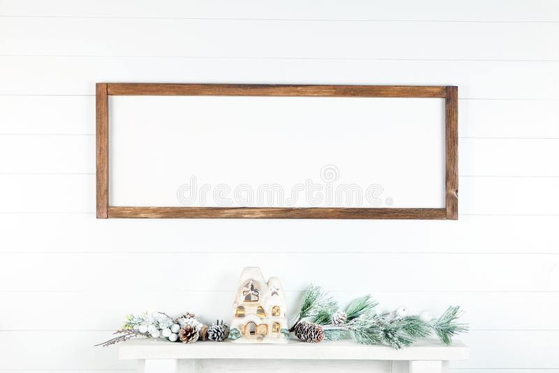 8 x 24 Christmas Frame Mockup on a Light Background stock photography