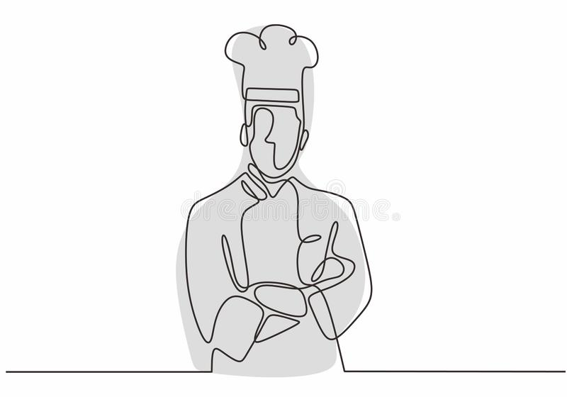 & x22;continuous one line drawing of confident chef standing vector illustration. Single hand drawn minimalism. Food, kitchen, cooking, restaurant, isolated royalty free illustration