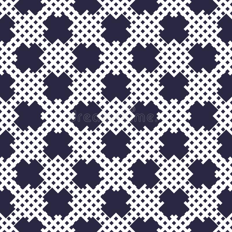 X crosses seamless minimalistic vector background with small regular dots, minimal simple geometric pattern. Single color, black vector illustration