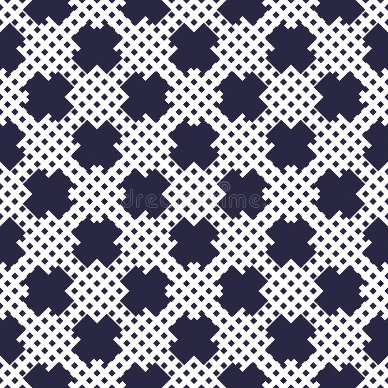 X cruza el fondo minimalistic inconsútil con los pequeños puntos regulares, modelo geométrico simple mínimo del vector Solo color ilustración del vector