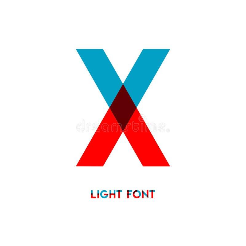 X ejemplo ligero del diseño de la plantilla del vector de la fuente libre illustration