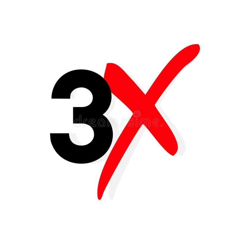 3x embleempictogram X3 verdubbelt de tekstbrief, sneller logotypesymbool royalty-vrije illustratie