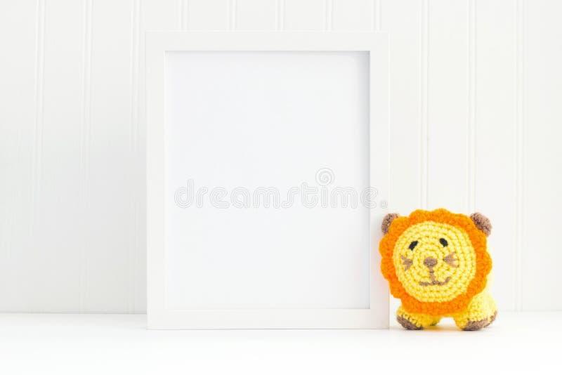 Kids empty frame mockup. 8x10 display frame for nursery stock photos