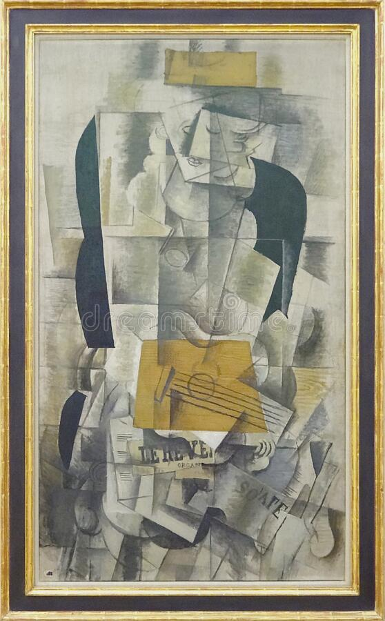 """Femme à la guitare"", Georges Braque, 1913. Centre Pompidou, Paris. royalty free stock photography"