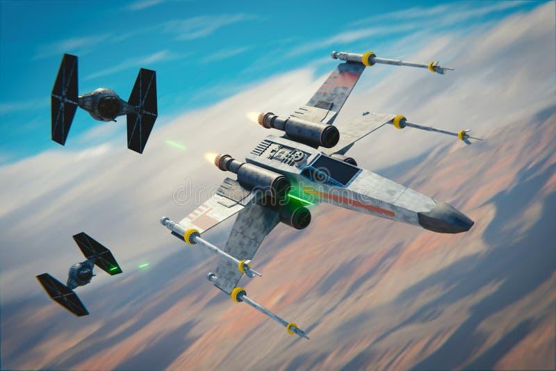 X-Flügel gegen BINDUNG Kämpfer stock abbildung