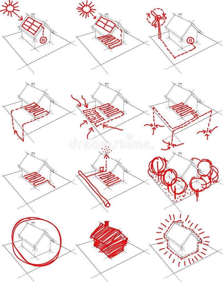 12x het conceptendiagram van de huisenergie vector illustratie