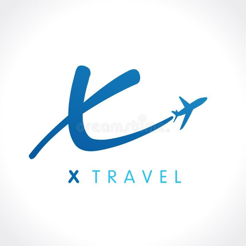 X het embleem van het de reisbedrijf van de brievenvlieg stock illustratie
