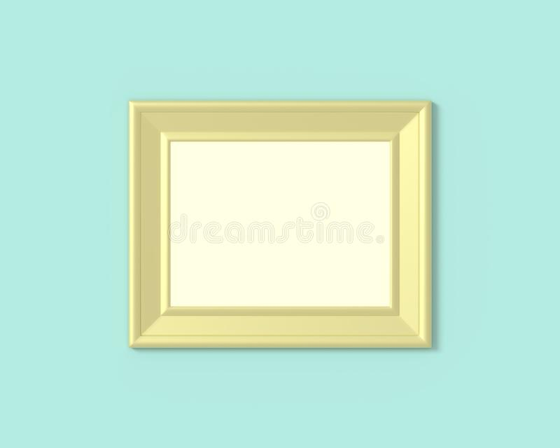 3x4 Horizontal landscape frame mockup. Realisitc paper, wooden or plastic gold blank for photographs. Isolated poster frame mock stock illustration