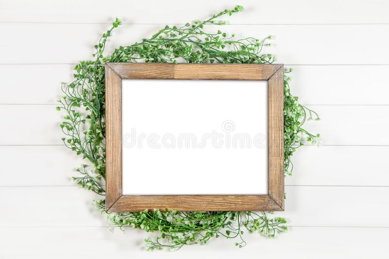 8x10 16x20 horizontal wooden frame mockup on white background stock image