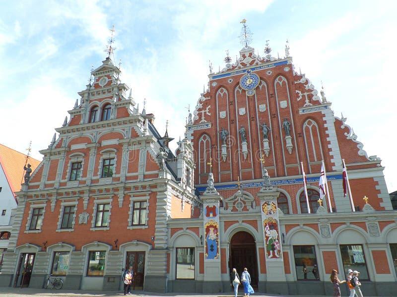 & x22; Huis van Blackheads& x22; , Overweldigend Oriëntatiepunt van Riga, Letland royalty-vrije stock afbeelding