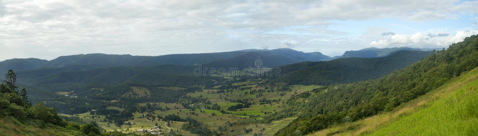 42x12 Inch Numinbah Valley Panorama Australia. A 42x12-inch size high definition image of the Numinbah valley in Queensland in Australia. View taken from Rosins royalty free stock photography