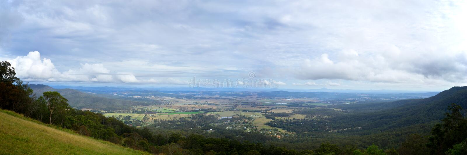 12x36 inch Panorama Canungra Queensland Australia. A 12x36 inch full size panoramic photos of Canungra taken from Mount Tamborine in Queensland in Australia royalty free stock photo