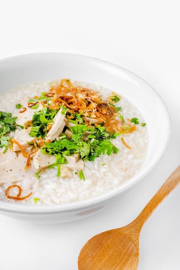 & x27; Khao Tom Moo & x27; O café da manhã tailandês, congee do arroz misturou com a carne foto de stock royalty free