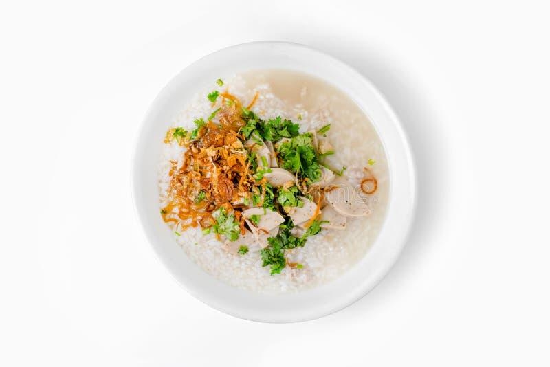 & x27; Khao Tom Moo & x27; O café da manhã tailandês, congee do arroz misturou com a carne fotografia de stock royalty free