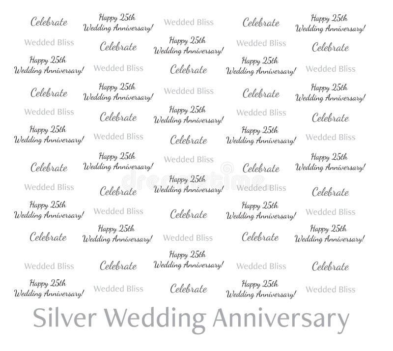 8x8 kroka powtórki sztandar - Srebna Ślubna rocznica Świętuje Szczęśliwy 25th royalty ilustracja