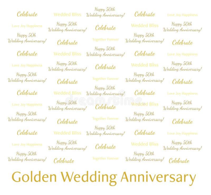 8x8 kroka powtórki sztandar - Złota Ślubna rocznica Świętuje Szczęśliwy 25th royalty ilustracja