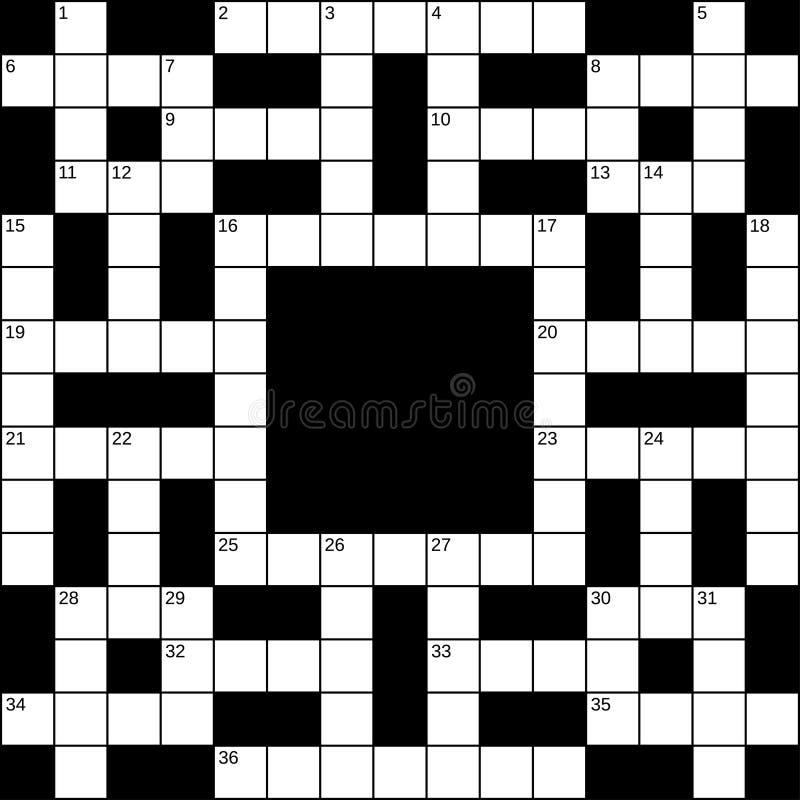 15x15 kvadrerar det tomma Britt-stil korsordrastret för 36 ord med nummer, vektorillustration royaltyfri illustrationer
