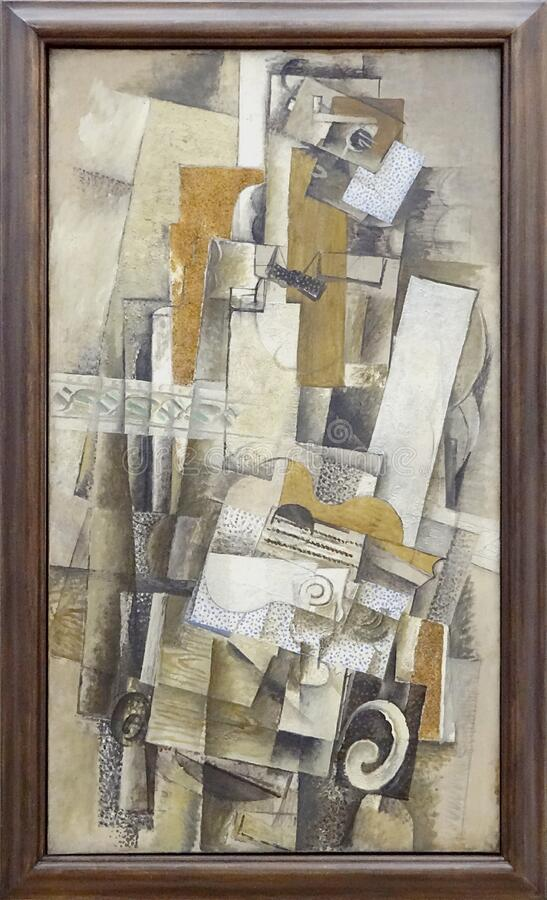 """L'homme à la guitare"", Georges Braque, 1914. Centre Pompidou, Paris. royalty free stock photo"