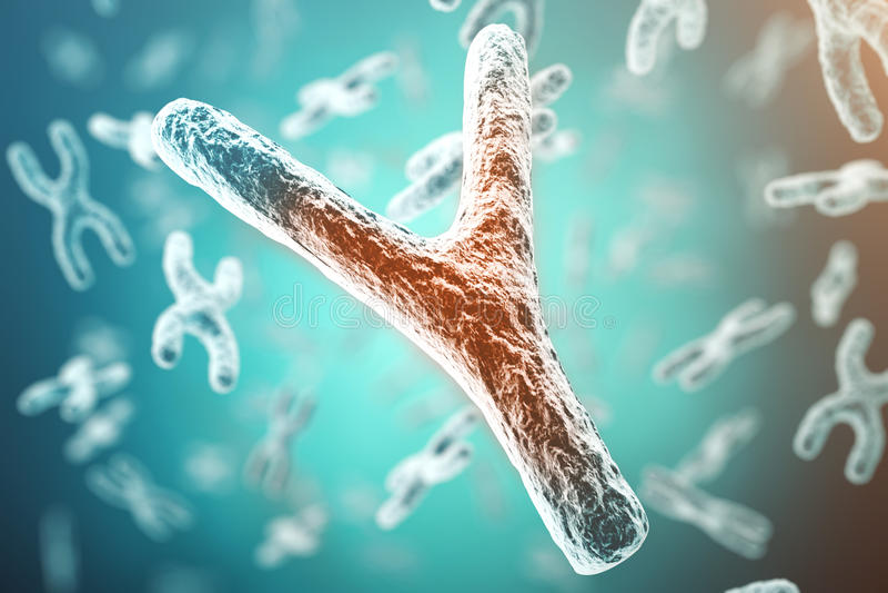 X-$l*y-χρωμόσωμα, κόκκινο στο κέντρο, έννοια της μόλυνσης, μεταλλαγή, ασθένεια, με την επίδραση εστίασης τρισδιάστατη απόδοση απεικόνιση αποθεμάτων