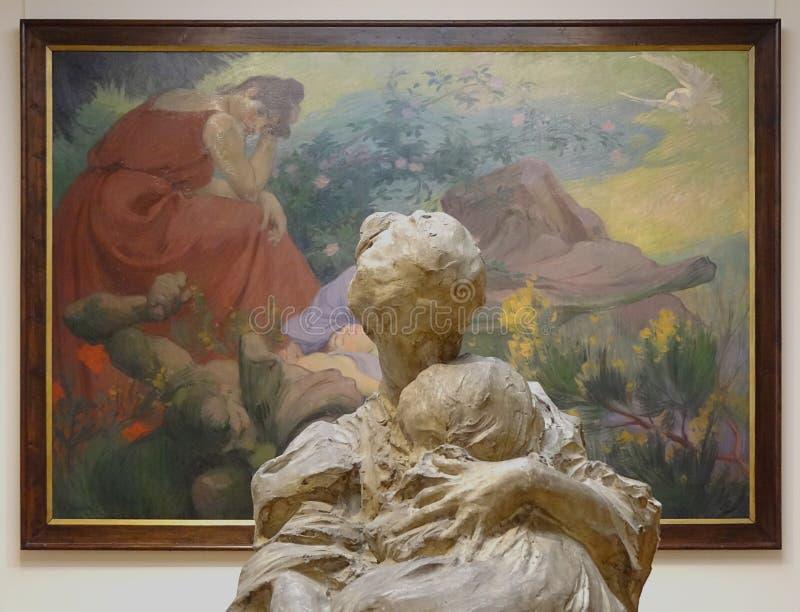"""""""La mère et l'enfant"""", Pierre Troubetskoy, 1898. En arrière-plan, """"Séjour de paix et de joie"""", V stock photography"""