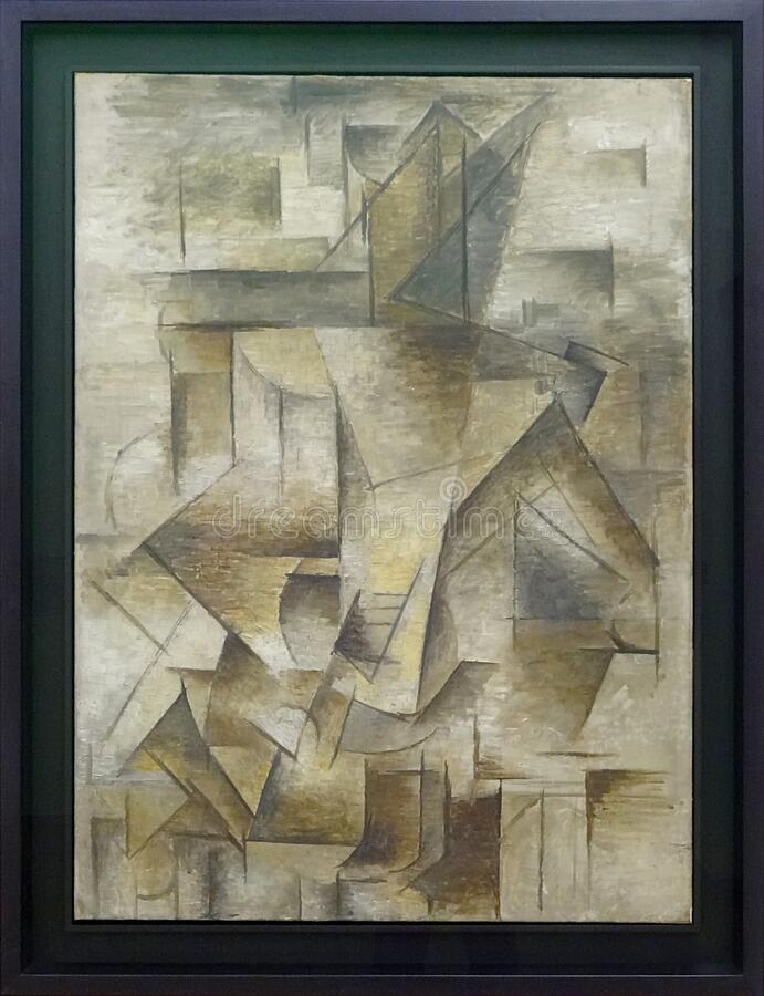 """Le guitariste"", Pablo Picasso, été 1910. Centre Pompidou, Paris. stock photo"