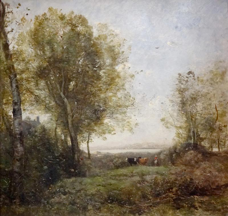 """Le matin. Gardeuse de vaches"", Camille Corot, entre 1865 et 1870. royalty free stock photos"