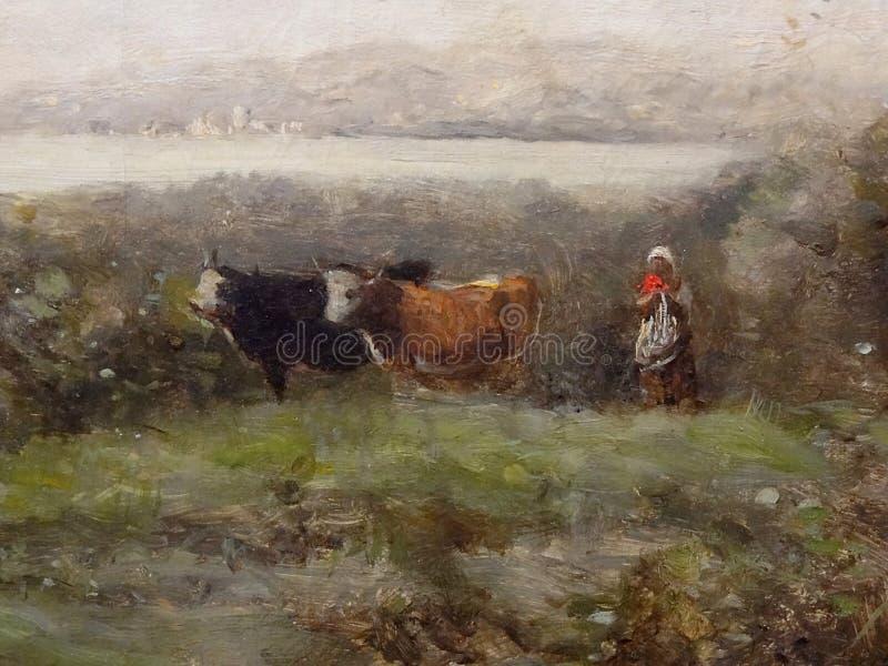 """""""Le matin. Gardeuse de vaches"""" (détail), Camille Corot, entre 1865 et 1870. stock photos"""