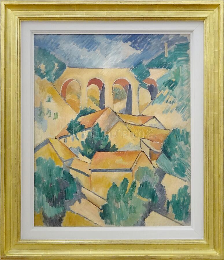 """""""le Viaduc à L'estaque"""", Georges Braque, 1908. Centre Pompidou, Paris. Free Public Domain Cc0 Image"""