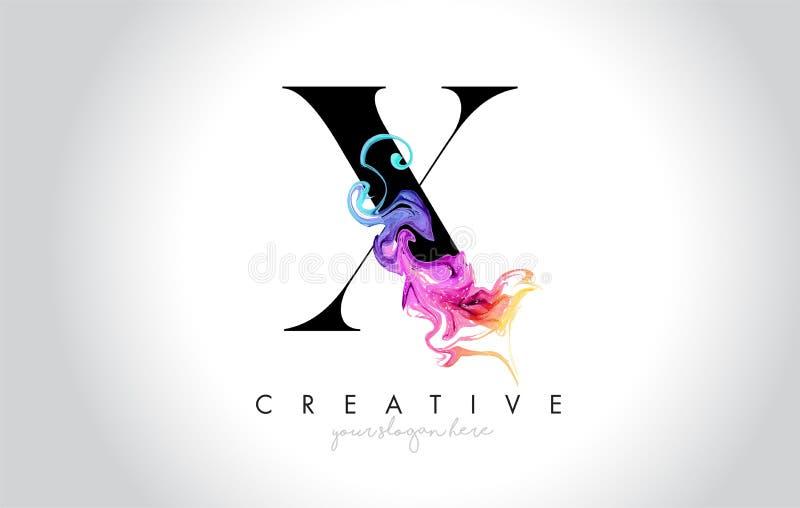 X Leter criativo vibrante Logo Design com tinta colorida Flo do fumo ilustração stock