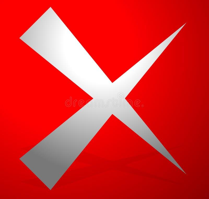 X letra, forma de x A cruz com cores vermelhas como a supressão, remove, falha ilustração stock