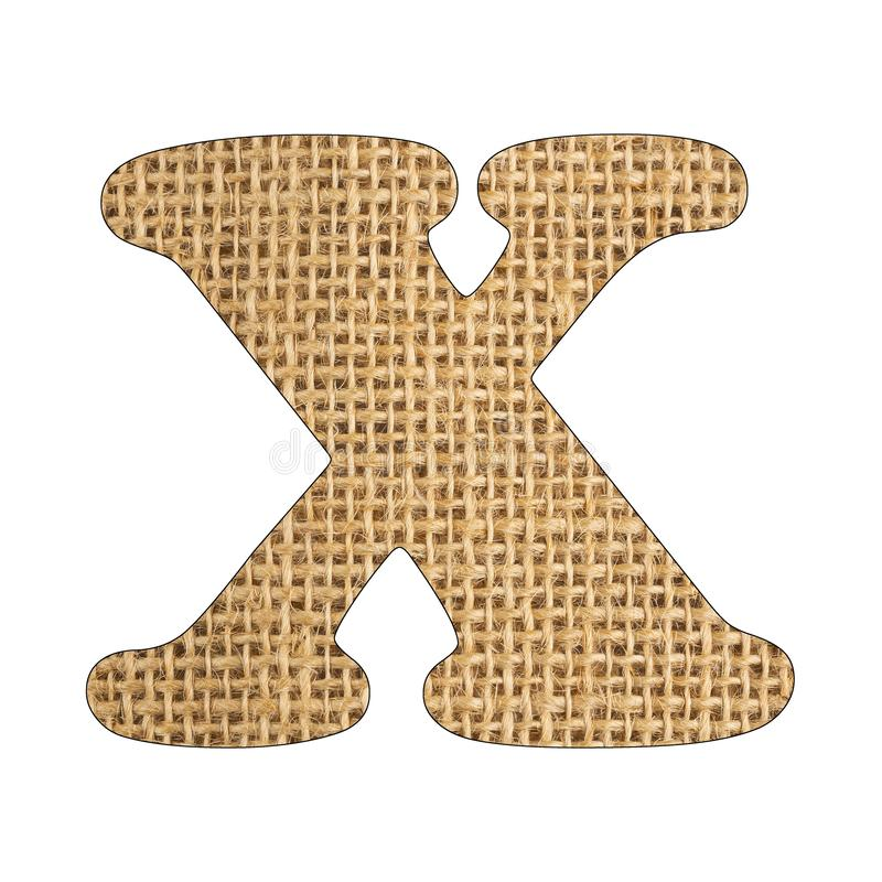 X, Letter of the alphabet - Burlap Background Texture. White background. X, Letter of the alphabet - Burlap Background Texture royalty free stock image