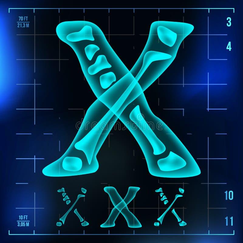 X Letter Vector. Capital Digit. Roentgen X-ray Font Light Sign. Medical Radiology Neon Scan Effect. Alphabet. 3D Blue royalty free illustration