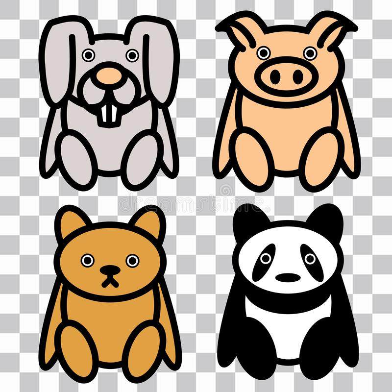 4x leuk Snoezig Speelgoed: Piggy, Konijntje, draagt royalty-vrije illustratie