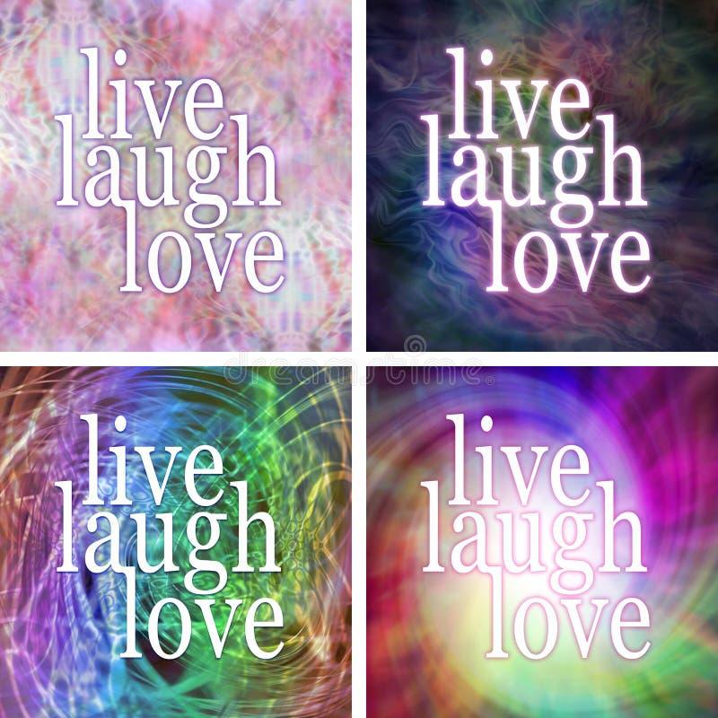 4 x Live laugh love square coasters vector illustration