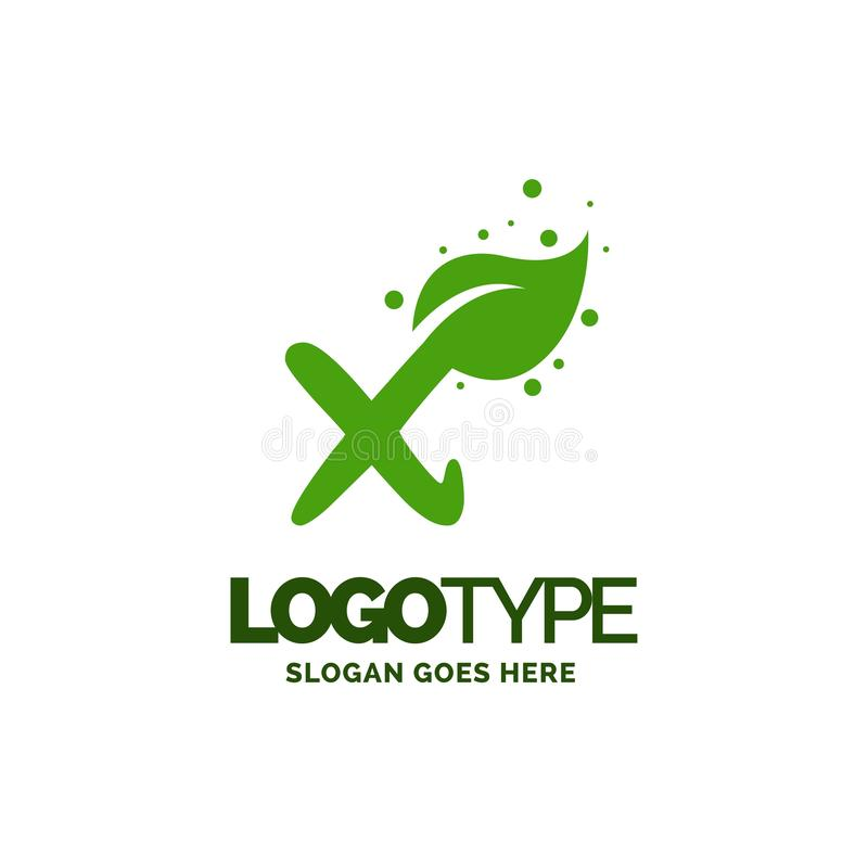 X logo with Leaf Element. Nature Leaf logo designs, Simple leaf. Logo symbol. Natural, eco food. Organic food badges in vector. Vector logos. Natural logos with royalty free illustration