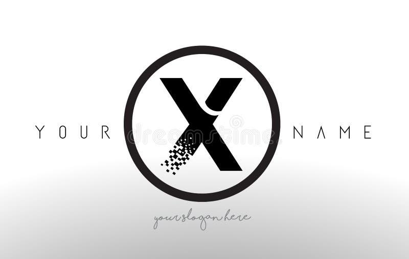 X Logo Letter com vetor do projeto da tecnologia do pixel de Digitas ilustração stock